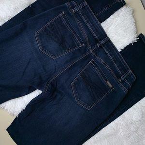 WHBM Boot Leg Cut 6R dark wash blue jeans logo EUC
